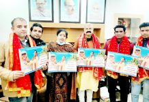 BJP, vice president Yudhvir Sethi releasing devotional album at Jammu on Friday. -Excelsior/Rakesh