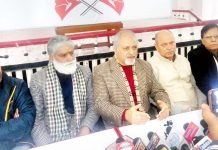 NC Provincial Vice President Anil Dhar addressing press conference at Jammu.