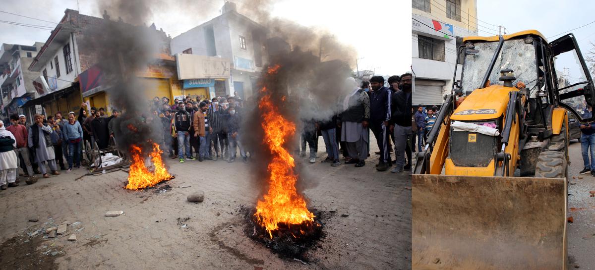 Inhabitants burning tyres during protest (left), JCB machine damaged in stone pelting (right). -Excelsior/Rakesh