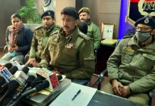 SSP, Samba Rajesh Sharma talking to reporters on Friday.