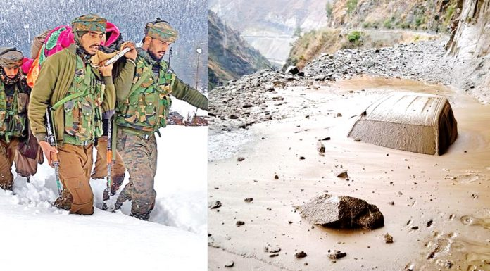 Army jawans evacuating pregnant woman to hospital in Handwara area (left) and car trapped in mudslide at Panthyal near Ramban on National Highway. —Excelsior pics by Abid Nabi & Parvez Mir