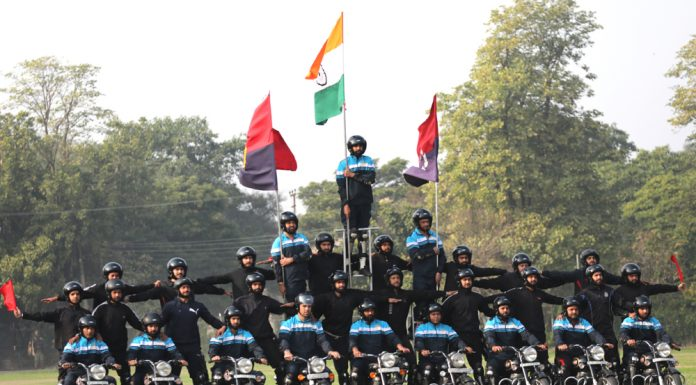 Rehearsal for Republic Day Parade at MA Stadium in Jammu on Friday. -Excelsior/Rakesh