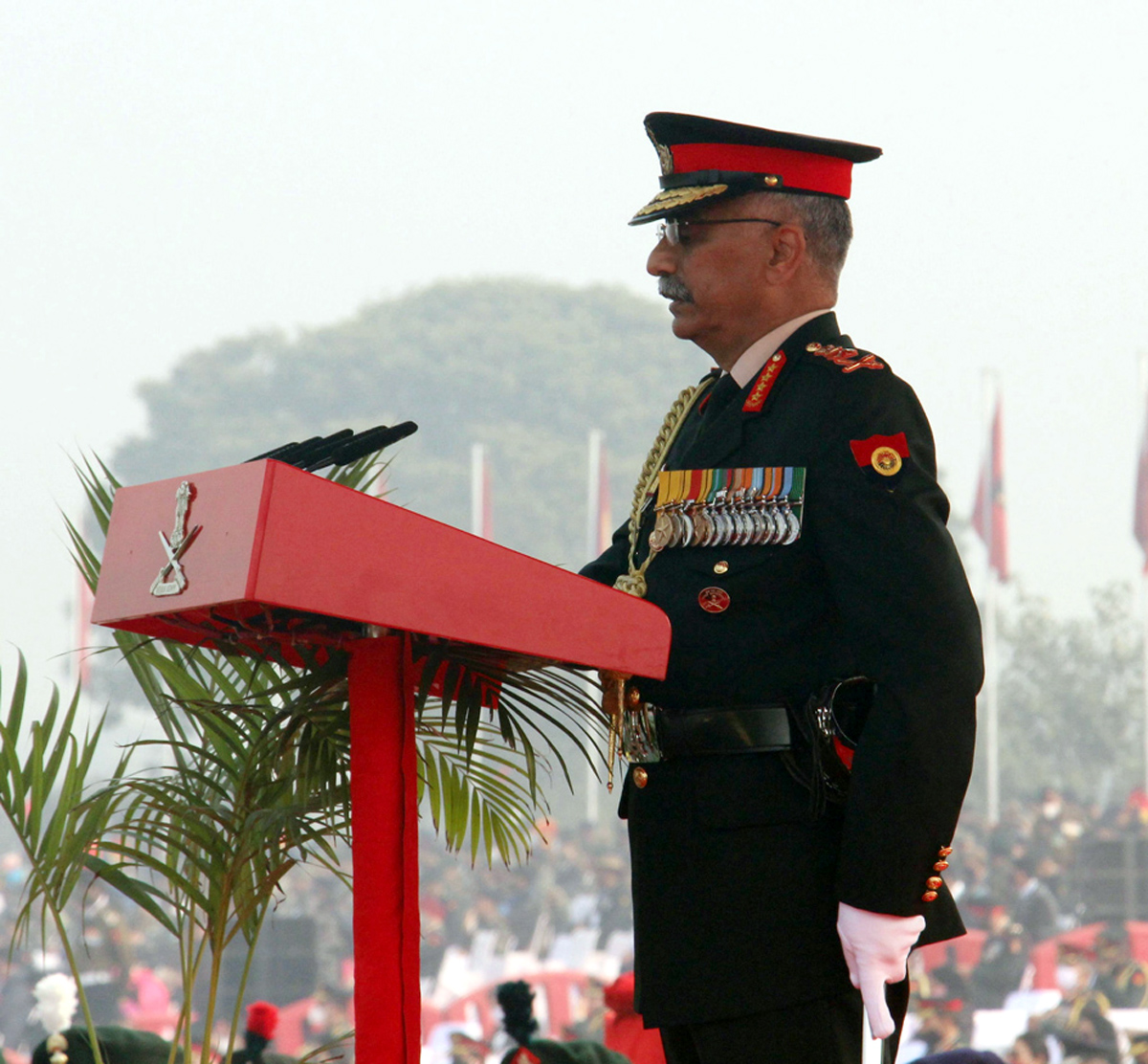 Army chief General M M Naravane addressing on the occasion of the 73rd Army Day parade at Parade Ground in New Delhi on Friday. (UNI)