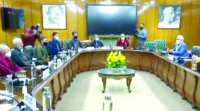 Union Home Minister Amit Shah meeting delegation of Ladakh in New Delhi on Wednesday.