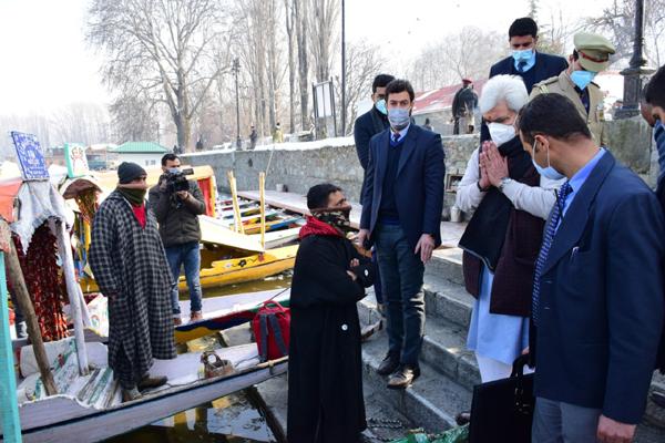 Lieutenant Governor Manoj Sinha during his tour of Srinagar city on Wednesday.