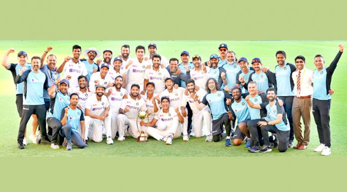 Indian players celebrating after historic victory against Australia in fourth and final Test match at the Gabba in Brisbane on Tuesday.
