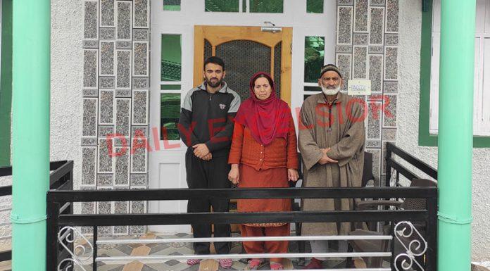 Abdul Latief Ganai with family in Bhaderwah. —Excelsior/Tilak Raj