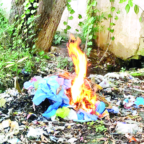 PPE kits being burnt openly in SMGS Hospital Jammu.