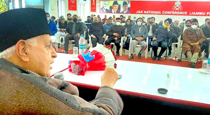 NC president Dr Farooq Abdullah addressing party functionaries in Jammu on Tuesday.