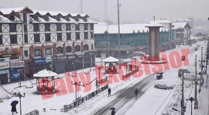 White blanket drapes after fresh snowfall in Srinagar. —Excelsior/Shakeel