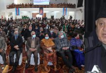 NC president Dr Farooq Abdullah addressing the gathering during a function at Jammu on Sunday. —Excelsior/Rakesh