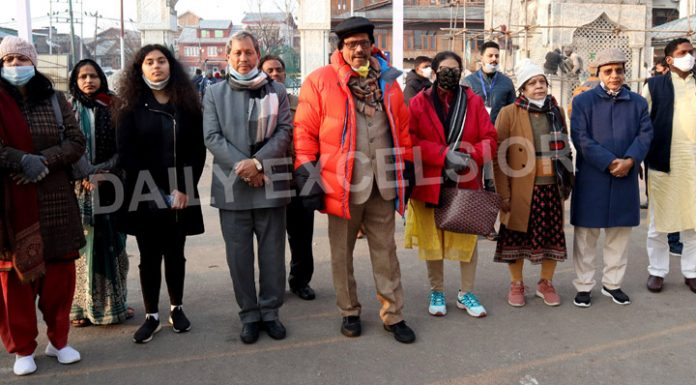 Members of Parliamentary delegation during their visit to Srinagar on Wednesday. —Excelsior/Shakeel