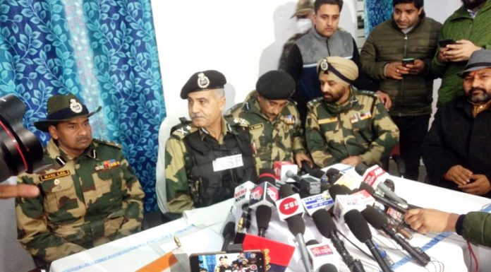 IG BSF Jammu Frontiers N S Jamwal speaking to media in Hiranagar on Saturday. -Excelsior/ Nischant