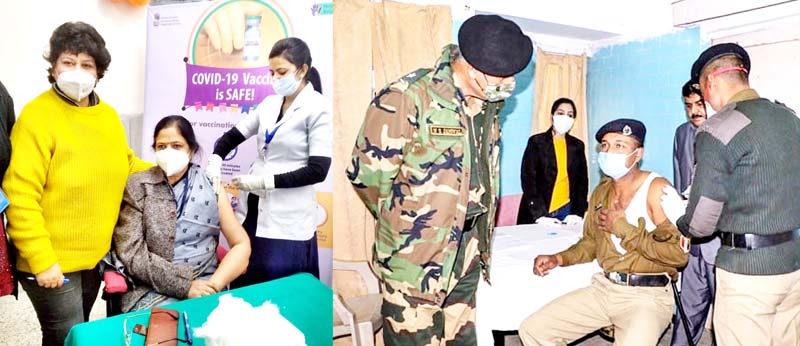GMC Principal Dr Shashi Sudhan Sharma getting COVID shot in GMC Jammu (left) while a BSF health worker got the jab in BSF hospital on Monday.(right)