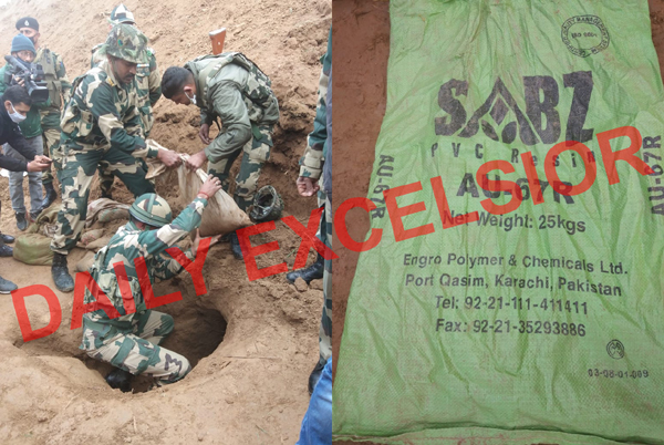 BSF jawans removing bags from the tunnel at Bobiya in Hiranagar sector on Wednesday (left) and a Karachi made sand bag recovered from the tunnel. —Excelsior/Nischant.
