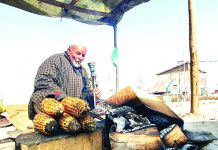 An old man selling corn on a cold morning near Narmal area on Srinagar-Muzaffarabad road. -Excelsior/Aabid Nabi