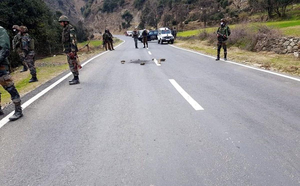 Security personnel in action at Dedpeth, Kishtwar after the grenade attack on Friday. -Excelsior/Tilk Raj