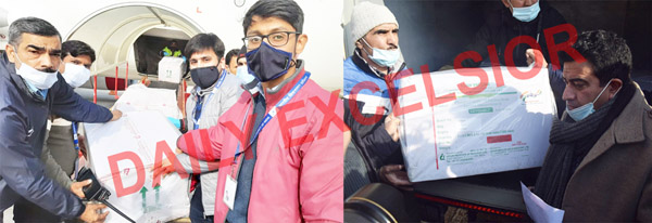 COVID vaccine being received at Jammu (left) and Srinagar (right) on Wednesday. —Excelsior pics by Rakesh & Shakeel