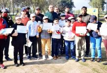 Principal Secretary Power Development Department, Rohit Kansal posing for group photograph with budding golfers at Jammu.