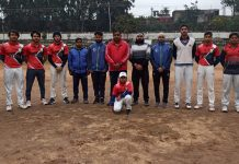 Players posing for a group photograph along with dignitaries at Jammu.