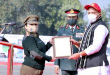 Defence Minister, Rajnath Singh awarding Raksha Mantri Commendation to Capt Shivani Sharma at New Delhi on Thursday.