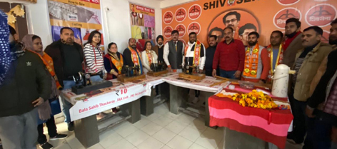Shiv Sena leaders posing for a group photograph at a newly started sewing centre in Jammu on Wednesday.