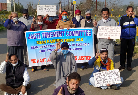 JTC and SKF activists protesting at Jagti town on Wednesday.