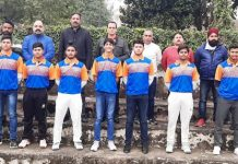 Members of ICA posing for a group photograph with team of Vishal Cricket Club at Jammu.