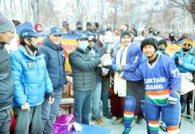 Dignitaries presenting trophy to players at Kargil on Sunday.