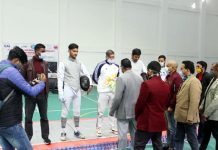 Dignitaries interacting with fencers during the event at Reasi.
