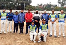 Winning team posing for a group photograph at Jammu.