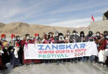 Chief guest inaugurating first Winter Sports & Youth Festival at Zanskar on Monday.