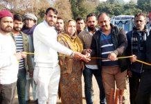 Councillor Shama Akhtar along with others inaugurating Rangoora Cricket championship at Sidhra.