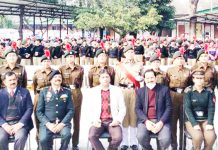 Commissioner Secretary HED Talat Parvez Rohella along with other dignitaries posing for photograph with NCC cadets.