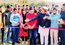 Chief guest, Arjun Singh Pathania inaugurating Cricket League at Majalta on Sunday.