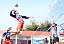 Players in action during Volleyball Premier League at Jammu.
