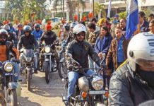 Bikers during rally at Jammu.