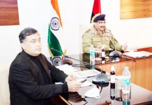 DGP Dilbag Singh chairing a meeting.