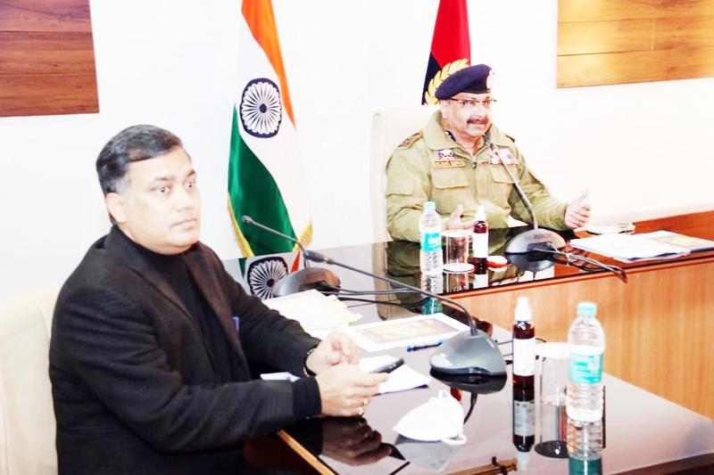 DGP Dilbag Singh chairing a meeting.