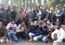 West Pak refugees protesting against J&K Police in Jammu on Thursday. — Excelsior/Rakesh