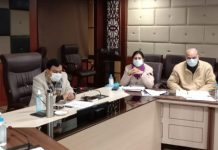 Commissioner/Secretary Industries Manoj Kumar Dwivedi chairing a meeting of officers at Udyog Bhawan, Jammu.