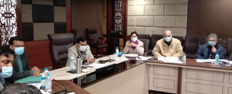 Commissioner/Secretary Industries Manoj Kumar Dwivedi chairing a meeting of officers at Udyog Bhawan, Jammu.