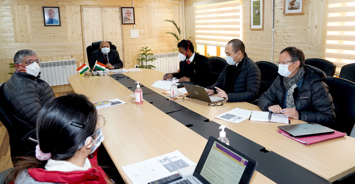 Lt Governor R K Mathur chairing a meeting on Wednesday.