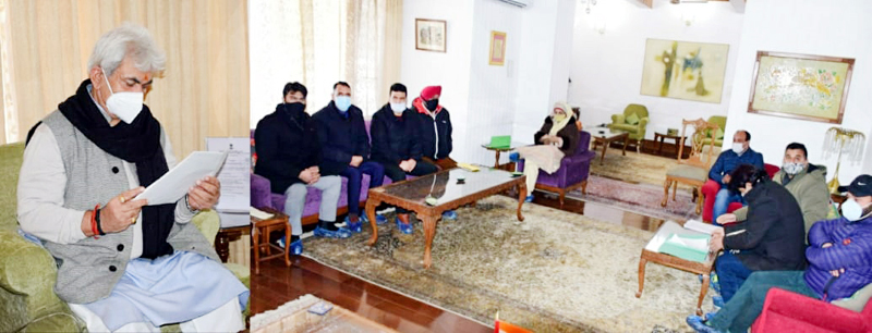 Lt Governor Manoj Sinha meeting delegation of Municipal Bodies at Srinagar.