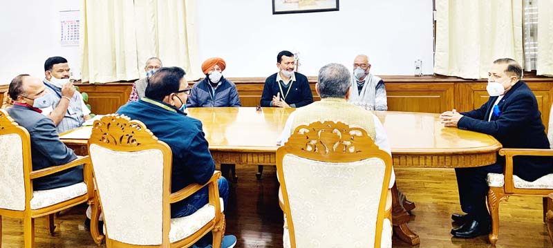 Union Minister Dr. Jitendra Singh at a meeting with a national delegation of Bharatiya Mazdoor Sangh to discuss various service related matters at North Block, New Delhi on Monday.