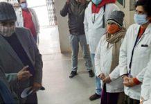 Advisor R R Bhatnagar during visit to SDH Basohli on Sunday.
