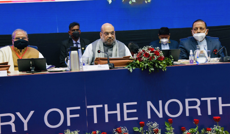 Union Home Minister Amit Shah, flanked by Union Minister Dr. Jitendra Singh, chairing the 69th Preliminary Meeting of North Eastern Council, at Shillong on Saturday.