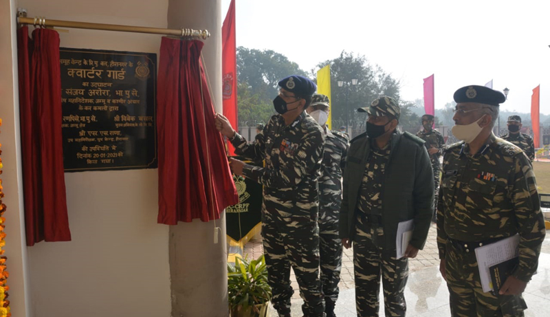 Spl DG, CRPF J&K Zone Sanjay Arora inaugurating Quarter Guard building at Kootah in Hiranagar on Wednesday.