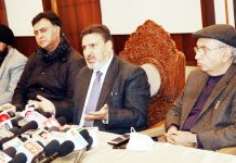 Apni Party president Altaf Bukhari speaking to media persons in Jammu on Tuesday. -Excelsior/ Rakesh