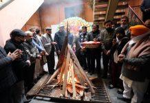 People celebrating Lohri at Jammu on Wednesday. -Excelsior/Rakesh